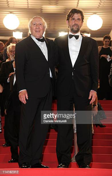 """Actor Michel Piccoli and director Nanni Moretti leave after the """"Habemus Papam"""" Premiere during the 64th Annual Cannes Film Festival at the Palais..."""
