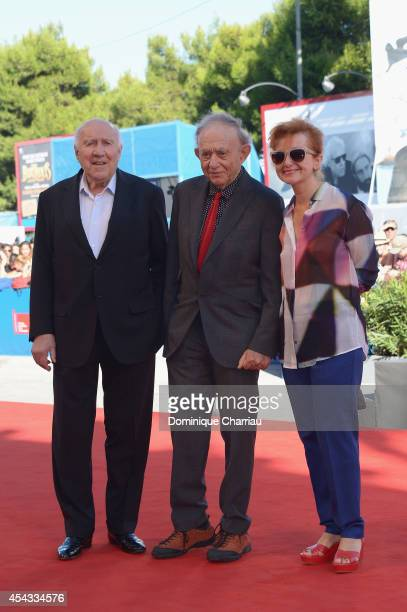 Actor Michel Piccoli his wife Ludivine Clerc and Frederick Wiseman attend the Golden Lion Lifetime Achievement Award during the 71st Venice Film...