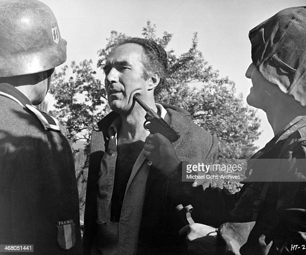 Actor Michel Piccoli on set of the movie Shock Troops circa 1967