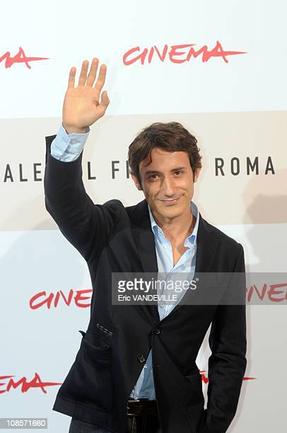 Actor Michele Alhaique The Third Rome Film Festival Photocall of the italian film 'The man who loves 'in Rome Italy on October 23 2008