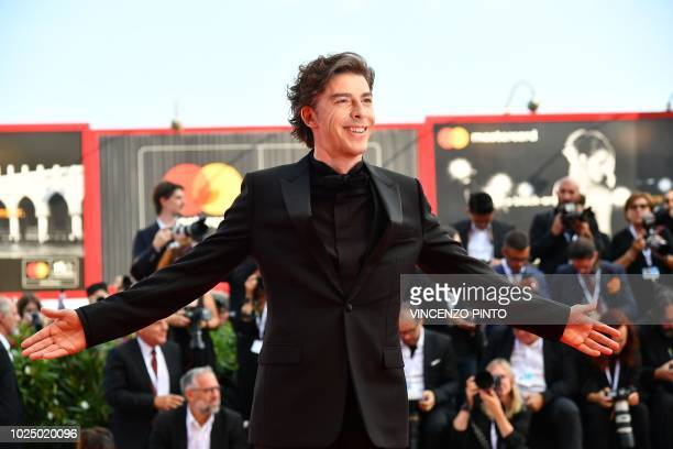 Actor Michele Riondino and host of the opening ceremony of the 75th Venice Film Festival arrives for the ceremony on August 29 2018 at Venice Lido