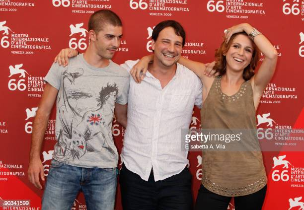 """Actor Michele Riondino, director Valerio Mieli and actress Isabella Ragonese attend the """"Dieci Inverni"""" photocall at the Palazzo del Casino during..."""