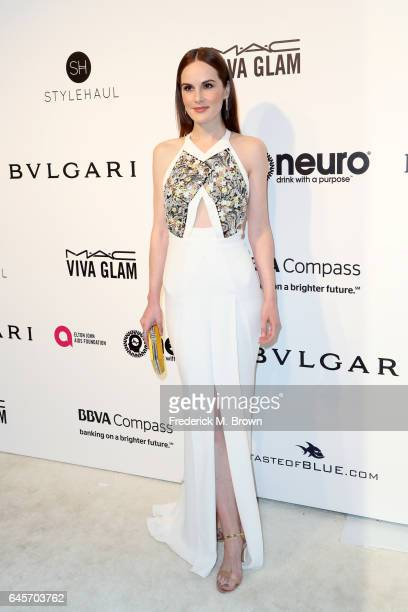 Actor Michelle Dockery attends the 25th Annual Elton John AIDS Foundation's Academy Awards Viewing Party at The City of West Hollywood Park on...