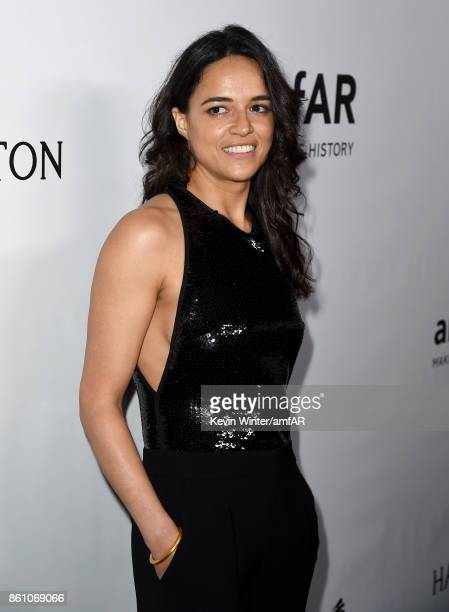 Actor Michelle Rodriguez attends the amfAR Gala Los Angeles 2017 at Ron Burkle's Green Acres Estate on October 13 2017 in Beverly Hills California