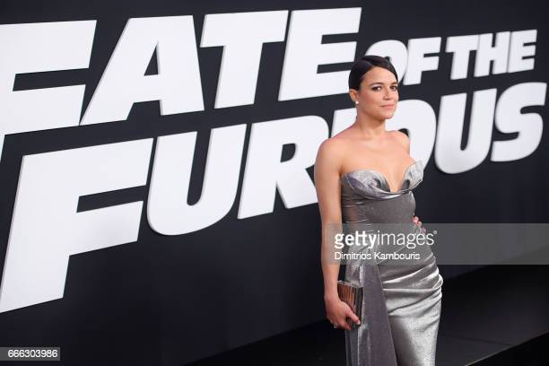 Actor Michelle Rodriguez attends The Fate Of The Furious New York Premiere at Radio City Music Hall on April 8 2017 in New York City