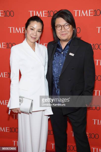 Actor Michelle Yeoh and novelist Kevin Kwan attend the 2018 Time 100 Gala at Jazz at Lincoln Center on April 24 2018 in New York City