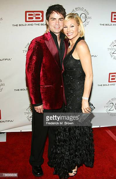 """Actor Mick Cain and actress Schae Harrison attend """"The Bold And The Beautiful"""" gala celebrating the show's 20 year anniversary on the air at Two..."""