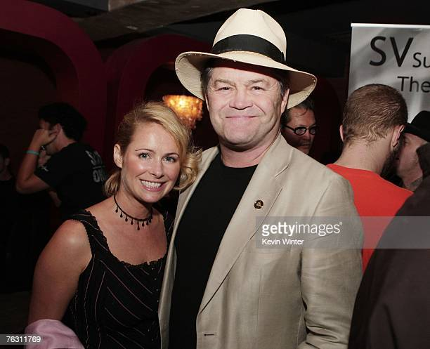 Actor Mickey Dolenz and his daughter actress Amy Dolenz pose at the afterparty for the premiere of MGM's Halloween at the Geisha House on August 23...
