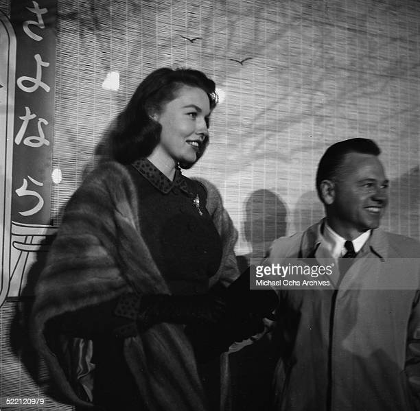 Actor Mickey Rooney and wife Elaine Devry attend the premiere of Sayonara in Los AngelesCA