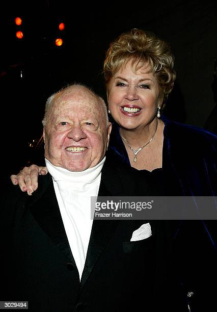 Actor Mickey Rooney and wife January Chamberlin attend the Hollywood awards night viewing dinner and party benefiting Children Uniting Nations'...