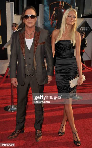Actor Mickey Rourke and Anastassija Makarenko arrive at the Iron Man 2 world premiere held at El Capitan Theatre on April 26 2010 in Hollywood...