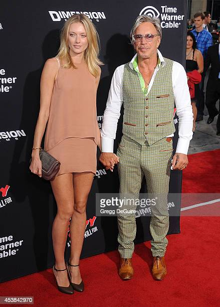 "Actor Mickey Rourke and Anastassija Makarenko arrive at the Los Angeles premiere of ""Sin City: A Dame To Kill For"" at TCL Chinese Theatre on August..."
