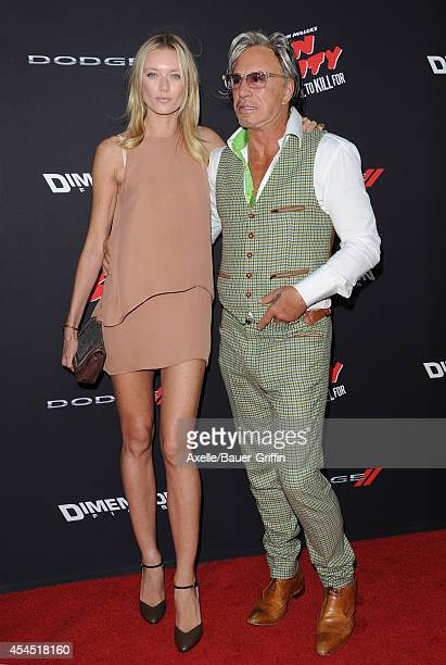 Actor Mickey Rourke and Anastassija Makarenko arrive at the Los Angeles premiere of 'Sin City: A Dame To Kill For' at TCL Chinese Theatre on August...