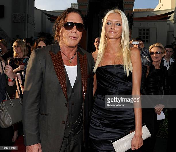 Actor Mickey Rourke and Anastassija Makarenko arrive at the world premiere of Paramount Pictures and Marvel Entertainment's Iron Man 2� held at El...