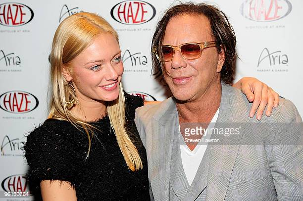 Actor Mickey Rourke and Anastassija Makarenko arrived at Haze Nightclub at the Aria Resort & Casino at CityCenter on January 23, 2010 in Las Vegas,...