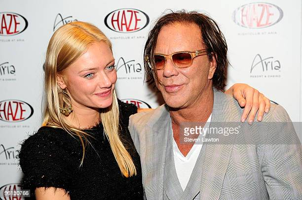 Actor Mickey Rourke and Anastassija Makarenko arrived at Haze Nightclub at the Aria Resort Casino at CityCenter on January 23 2010 in Las Vegas Nevada
