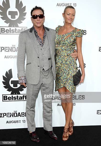 Actor Mickey Rourke and Anastassija Makarenko attend the premiere of The Expendables at Grauman's Chinese Theatre on August 3 2010 in Hollywood...