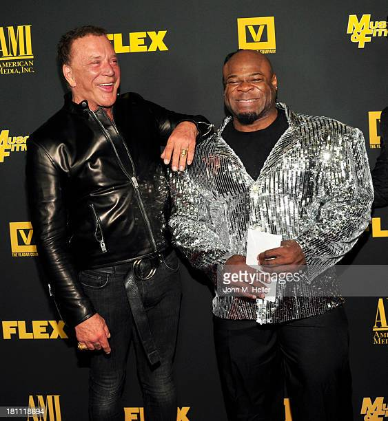 Actor Mickey Rourke and bodybuilder Kai Green attend the Los Angeles premiere of 'Generation Iron' at the Chinese 6 Theatres in Hollywood on...