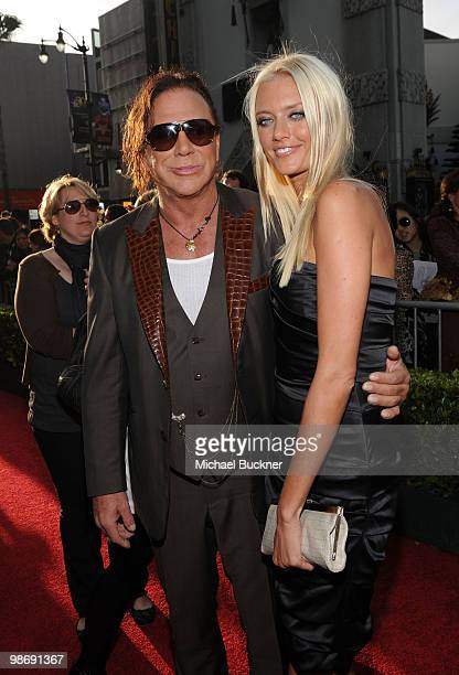 Actor Mickey Rourke and model Anastassija Makarenko arrive at the world wide premiere of 'Iron Man 2' Premiere held at the El Capitan Theatre on...