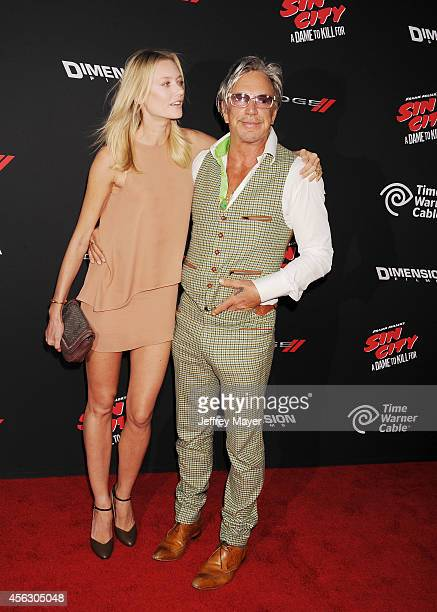 Actor Mickey Rourke and model Anastassija Makarenko arrive at the 'Sin City A Dame To Kill For' Los Angeles Premiere at TCL Chinese Theatre on August...