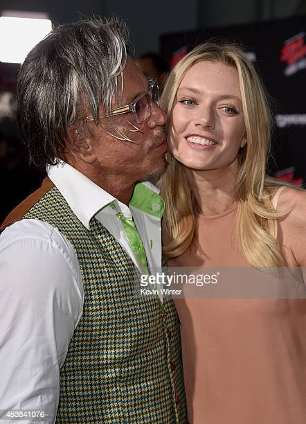 Actor Mickey Rourke and model Anastassija Makarenko attend the premiere of Dimension Films' 'Sin City A Dame To Kill For' at TCL Chinese Theatre on...