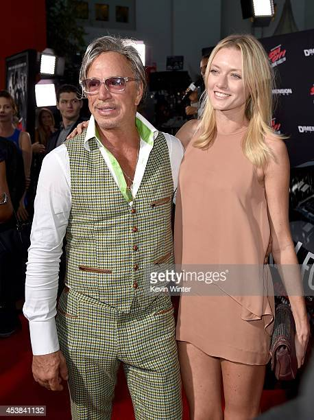 Actor Mickey Rourke and model Anastassija Makarenko attend the premiere of Dimension Films' Sin City A Dame To Kill For at TCL Chinese Theatre on...