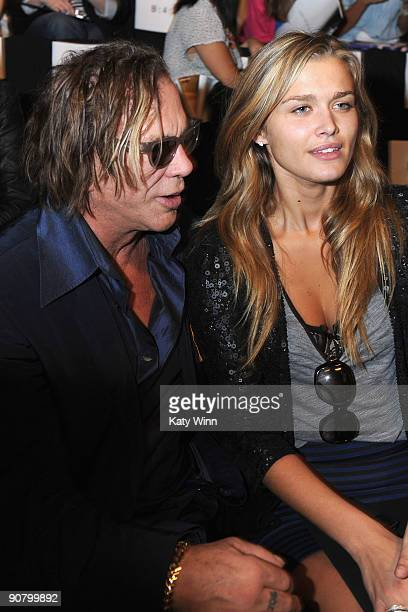 Actor Mickey Rourke and model Cheyenne Tozzi attends MercedesBenz Fashion Week at Bryant Park on September 15 2009 in New York New York