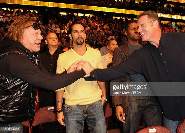 Actor Mickey Rourke and TV personality Howie Long attend UFC on Fox Live Heavyweight Championship at the Honda Center on November 12 2011 in Anaheim...