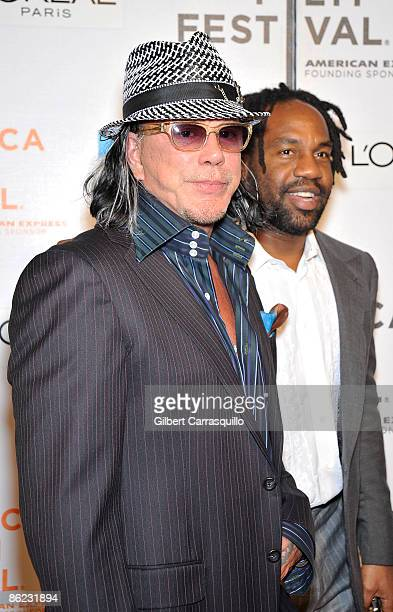 """Actor Mickey Rourke and Unik Ernest attend the premiere of """"City Island"""" during the 8th Annual Tribeca Film Festival at the BMCC Tribeca Performing..."""