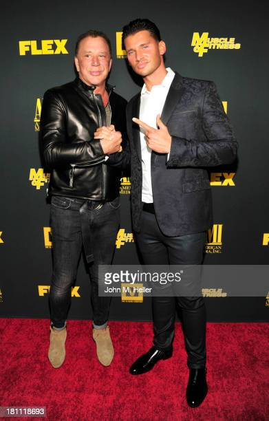 Actor Mickey Rourke and Vlad Yudin attend the Los Angeles premiere of 'Generation Iron' at the Chinese 6 Theatres in Hollywood on September 18 2013...
