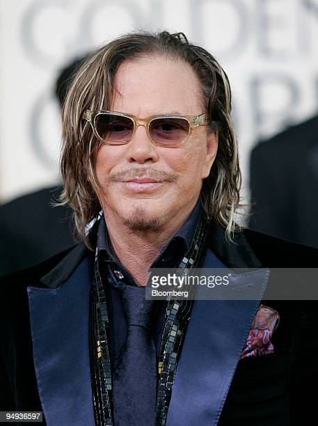 Actor Mickey Rourke arrives at the 66th Annual Golden Globes Awards in Beverly Hills California US on Sunday Jan 11 2009 Heath Ledger received a...