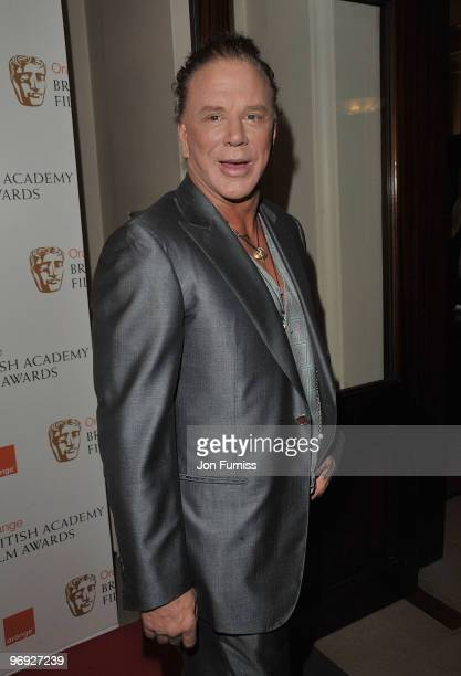 Actor Mickey Rourke attends the Orange British Academy Film Awards 2010 at the Royal Opera House on February 21 2010 in London England