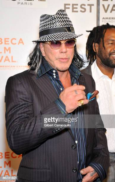 """Actor Mickey Rourke attends the premiere of """"City Island"""" during the 8th Annual Tribeca Film Festival at the BMCC Tribeca Performing Arts Center on..."""
