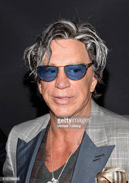 Actor Mickey Rourke attends the premiere of Open Road's new film 'Triple 9' at Regal Cinemas LA Live on February 16 2016 in Los Angeles California