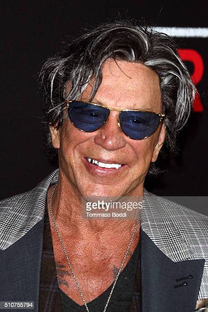 Actor Mickey Rourke attends the premiere of Open Road's 'Triple 9' held at Regal Cinemas LA Live on February 16 2016 in Los Angeles California