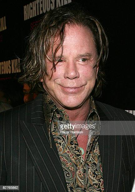 Actor Mickey Rourke attends The Righteous Kill premiere at the The Ziegfeld on September 10 2008 in New York City