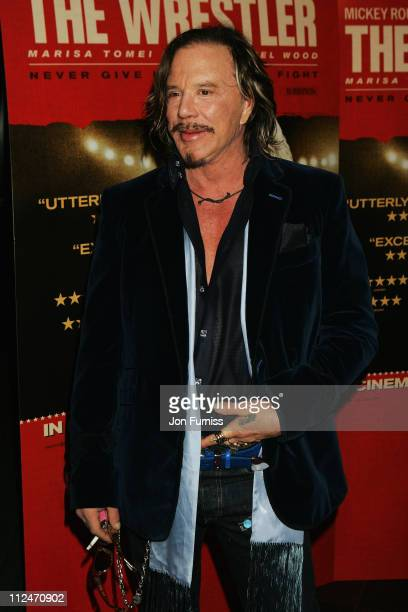 Actor Mickey Rourke attends the UK Screening of 'The Wrestler' at Vue West End on January 5 2009 in London England