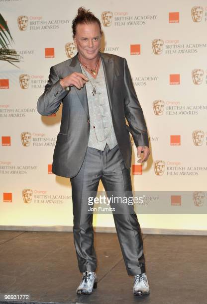 Actor Mickey Rourke during the Orange British Academy Film Awards 2010 at the Royal Opera House on February 21 2010 in London England