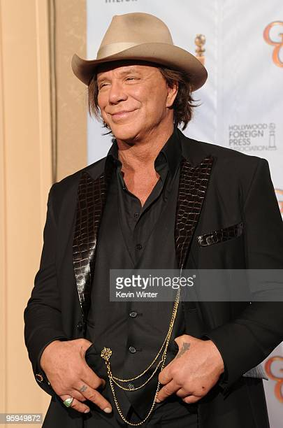 Actor Mickey Rourke poses in the press room at the 67th Annual Golden Globe Awards held at The Beverly Hilton Hotel on January 17 2010 in Beverly...