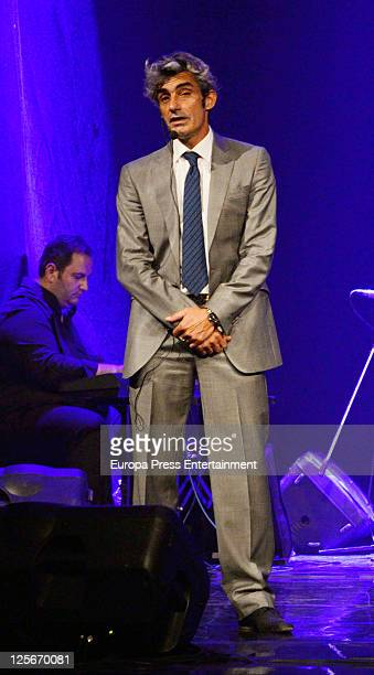 Actor Micky Molina performs at 'Cantando por Molina' premiere at Calderon Theatre on September 19 2011 in Madrid Spain This musical theatre play pays...