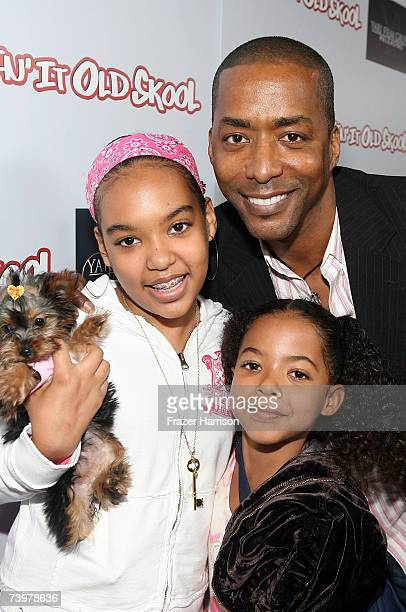 Actor Miguel A Nunez Jr and children Mia and Nicole pose at the after party for the Los Angeles premiere of Kickin' It Old Skool at the Music Box...