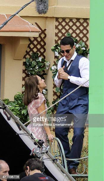 Actor Miguel Angel Silvestre and actress Paula Echevarria are seen during the set filming of 'Galerias Velvet' on April 28 2015 in Madrid Spain