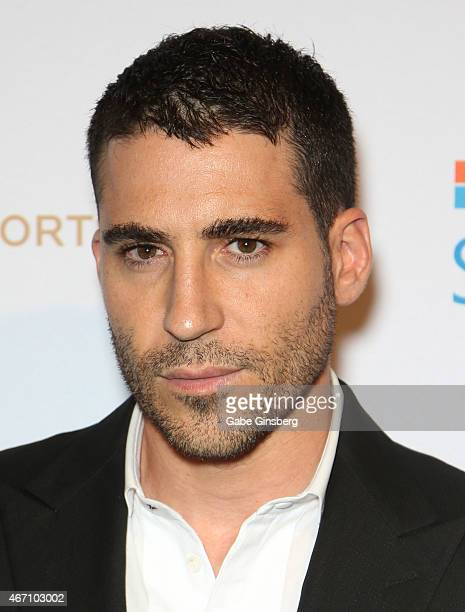 Actor Miguel Angel Silvestre arrives at the 'One Night For ONE DROP' blue carpet event at 1 OAK Nightclub at The Mirage Hotel Casino on March 20 2015...