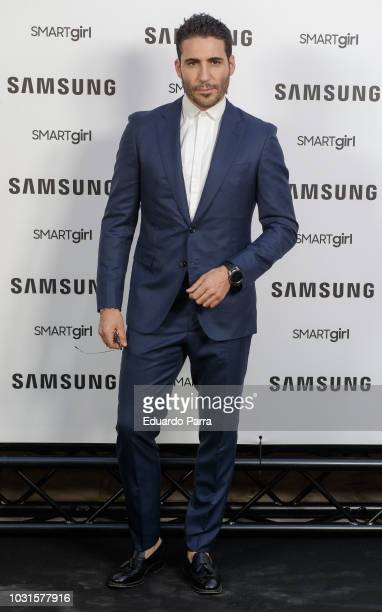 Actor Miguel Angel Silvestre presents the new Samsung Galaxy watch at Saldana palace on September 11, 2018 in Madrid, Spain.
