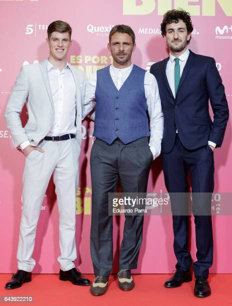 Actor Miguel Bernardeau Duato, Luis Mottola and Miki Esparbe attend the 'Es por tu bien' premiere at Capitol cinema on February 22, 2017 in Madrid,...