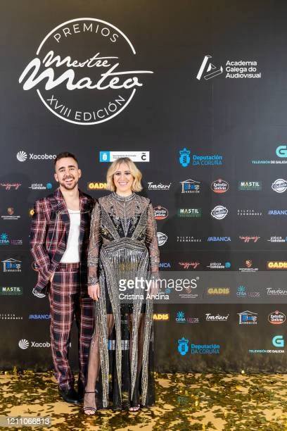 Actor Miguel Canalejo and actress Sila Sicilia attend the Mestre Mateo Awards in A Coruna on March 07 2020 in A Coruna Spain