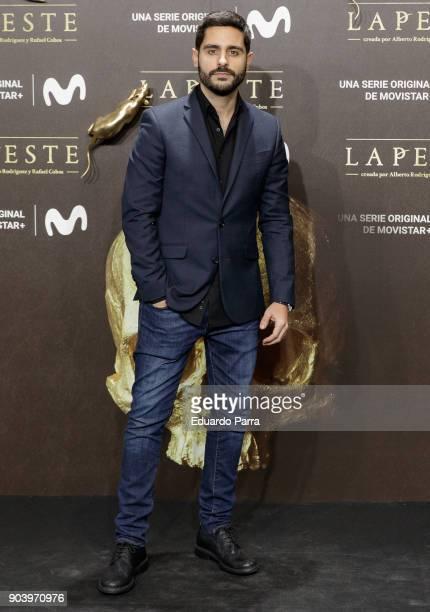 Actor Miguel Diosdado attends the 'La peste' premiere at Callao cinema on January 11 2018 in Madrid Spain