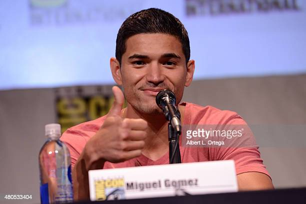 Actor Miguel Gomez speaks onstage at the FX TV Block featuring 'SexDrugsRockRoll' 'The Strain' and a sneak peek of 'The Bastard Executioner' panel...