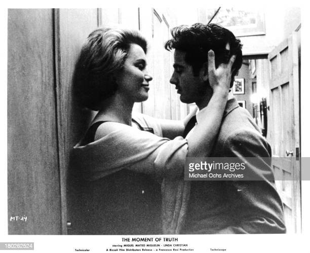 Actor Miguel Mateo Miguelin and actress Linda Christian on set of the Rizzoli Film The Moment of Truth in 1965
