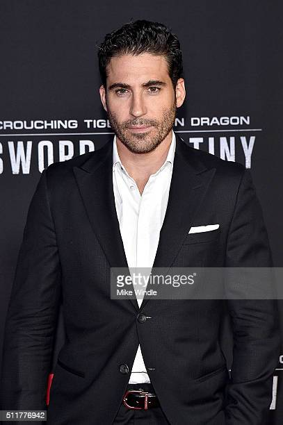Actor Miguel çngel Silvestre attends the premiere of Netflix's Crouching Tiger Hidden Dragon Sword Of Destiny at AMC Universal City Walk on February...